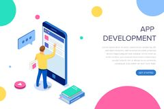 App development. Isometric Businessman Using Digital Devices. Touching the screen smartphone. Worldwide connection. Technology interface. Landing page template vector illustration