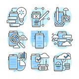 App development, Ui, Ux. Flat line illustration. stock images