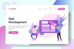 App Development. Vector illustration concept of Application Development, a man is entering code on the board, can be used for, landing pages, templates, UI, web vector illustration