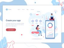 App development web banner. Modern vector illustration concept. Mobile app development. Web banner design template. Teamwork project. Flat vector illustration vector illustration