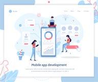 App development web banner. Team of developers construct mobile app. UI UX design. Web banner design template. Flat vector illustration vector illustration