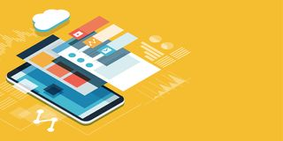 App development and user interface. App development and web design: layered user interfaces and screens on a touch screen smartphone stock illustration