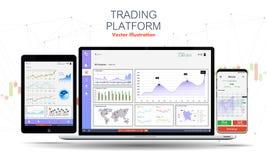 App di scambio commerciale sullo schermo, sul computer portatile e sulla compressa del telefono royalty illustrazione gratis