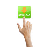 App download button with real hand Stock Photo