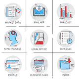 App E-mail Inbox Berichtpost, de Voorspelling van Marktgegevens, het Pictogramreeks van het ProgrammaAdreskaartje Royalty-vrije Stock Foto
