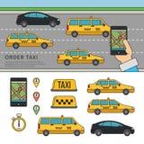 App för att boka taxien Royaltyfri Fotografi