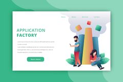 Application factory landing page vector illustration