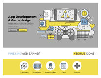 App and game develop flat line banner. Flat line design of web banner template with outline icons of software application development, mobile OS game programming