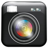 App Icon with Camera Lens and Flash Light Royalty Free Stock Images