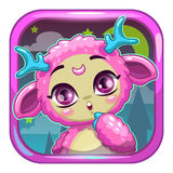 App icon with cute pink fluffy monster Stock Photo