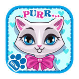 App icon with cute white cat face Stock Photography