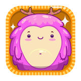 App icon with funny cartoon pink fluffy monster. Royalty Free Stock Photos