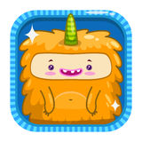 App icon with funny cartoon yellow fluffy monster. Stock Photo