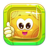 App icon with funny cute yellow character. Stock Photography