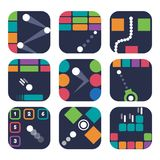 App icon templates for trendy mobile game. Logo design. Simple 2d GUI assets in the flat style. Vector illustration Stock Photography