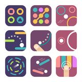 App icon templates. For trendy mobile game logo design. Simple 2d GUI assets in the flat style. Vector illustration Stock Photos