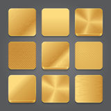 App icons background set. Golden metal button icons Royalty Free Stock Photo