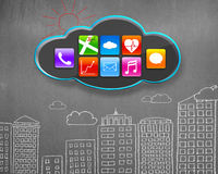 App icons on black cloud with buildings doodles concrete wall Royalty Free Stock Photography