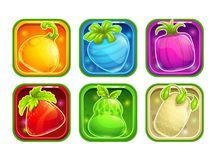 App icons with colorful glossy fantasy fruits. Application store elements set. Vector assets on white Royalty Free Stock Photos