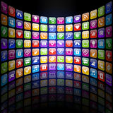 App icons 3d Texture with Reflection. A colorful texture with reflection composed by several Technology related concepts Royalty Free Stock Photography