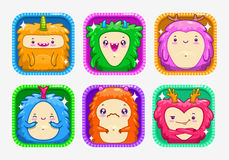 App icons with funny cartoon colorful monsters. App icons with funny cartoon colorful fluffy monsters. Application store logo template set. Nice vector elements Stock Photo