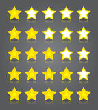 App icons glass set. Five glossy yellow stars rati Royalty Free Stock Photography