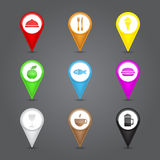 App icons glass set. Glossy round 3D map pin with. Food sign. Vector illustration Royalty Free Stock Images