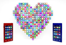 App icons in heartshape Stock Images