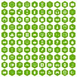 100 app icons hexagon green. 100 app icons set in green hexagon isolated vector illustration Royalty Free Stock Photos