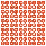 100 app icons hexagon orange. 100 app icons set in orange hexagon isolated vector illustration Stock Image