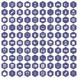 100 app icons hexagon purple. 100 app icons set in purple hexagon isolated vector illustration Royalty Free Illustration