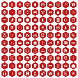 100 app icons hexagon red. 100 app icons set in red hexagon isolated vector illustration Stock Illustration