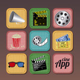 App icons. Over brown background vector illustration Stock Photos