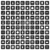 100 app icons set black. 100 app icons set in black color isolated vector illustration Stock Photo