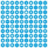 100 app icons set blue. 100 app icons set in blue hexagon isolated vector illustration Royalty Free Stock Photos