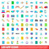 100 app icons set, cartoon style Royalty Free Stock Photos