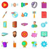 App icons set, cartoon style. App icons set. Cartoon set of 25 app vector icons for web isolated on white background Royalty Free Stock Photos