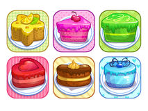 App icons set with colorful sweet cakes Stock Images