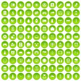 100 app icons set green circle. Isolated on white background vector illustration Royalty Free Stock Image