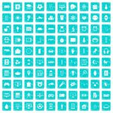 100 app icons set grunge blue. 100 app icons set in grunge style blue color isolated on white background vector illustration Stock Image