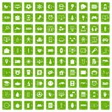100 app icons set grunge green. 100 app icons set in grunge style green color isolated on white background vector illustration Royalty Free Stock Images