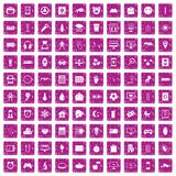 100 app icons set grunge pink. 100 app icons set in grunge style pink color isolated on white background vector illustration Royalty Free Stock Images