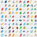 100 app icons set, isometric 3d style. 100 app icons set in isometric 3d style for any design vector illustration Royalty Free Stock Images