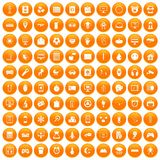 100 app icons set orange. 100 app icons set in orange circle isolated on white vector illustration Stock Photos