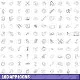 100 app icons set, outline style. 100 app icons set in outline style for any design vector illustration Royalty Free Stock Image
