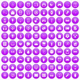 100 app icons set purple. 100 app icons set in purple circle isolated on white vector illustration Stock Photography