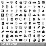 100 app icons set, simple style. 100 app icons set in simple style for any design vector illustration Royalty Free Stock Photo