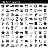 100 app icons set, simple style Stock Images