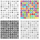 100 app icons set variant. 100 app icons set in 4 variant for any web design isolated on white stock illustration