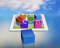App icons on smart pad with empty one Royalty Free Stock Image